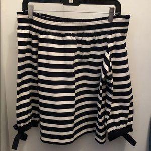 J.Crew Navy & White stripe off the shoulder blouse